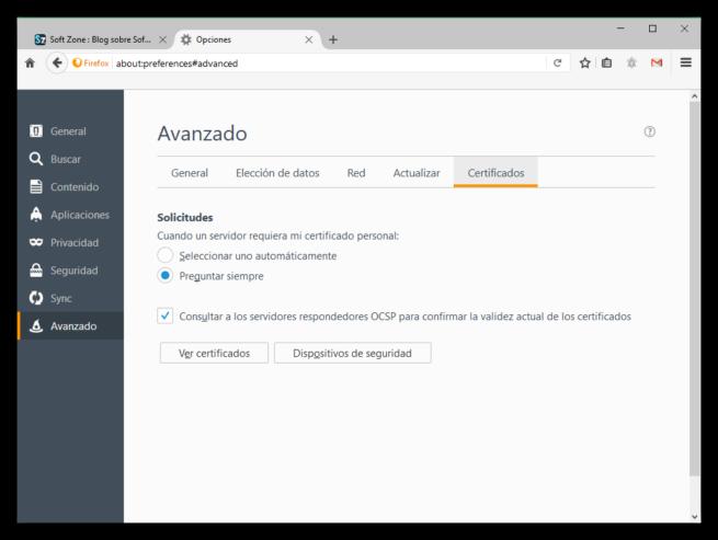 Opciones avanzadas de certificados en Firefox