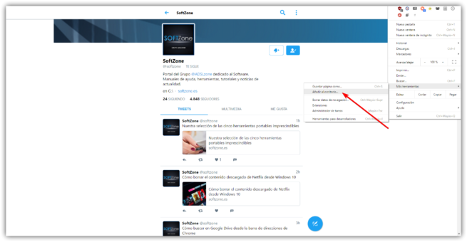 Twitter Lite en Windows - Anadir al escritorio