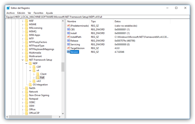 Version Net Framework Windows 10 Creators Update
