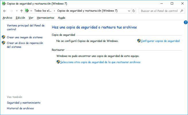 copia de seguridad de Windows 10