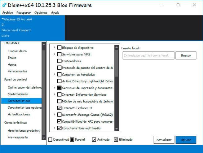 dism++ ajustes de Windows 10