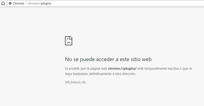 página de plugins de Google Chrome