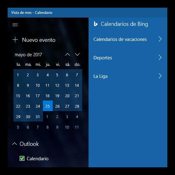 Añadir calendario a Windows 10