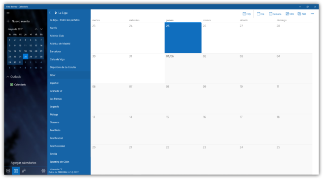Agregar Calendarios de La Liga a Windows 10