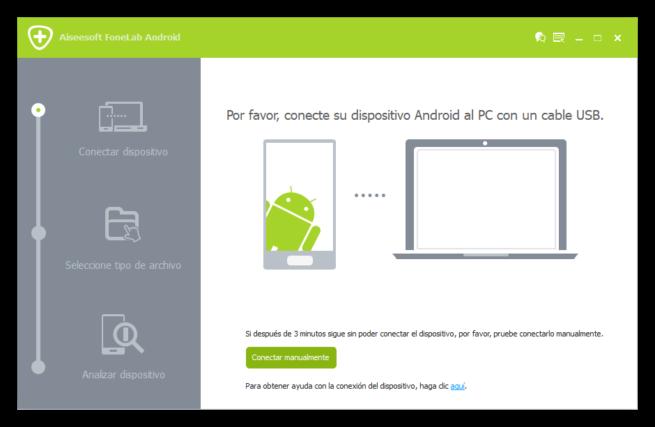 Aiseesoft FoneLab Android - Conectando telefono