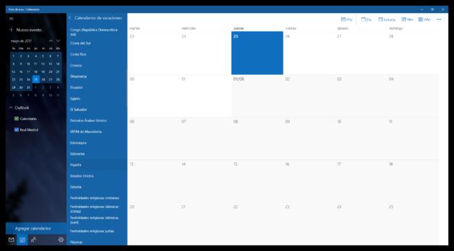 Añadir festivos España calendario Windows 10