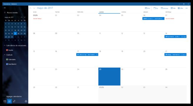 Calendario de Windows 10 con eventos