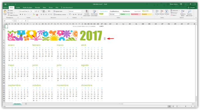 Cambiar año calendario Excel 1