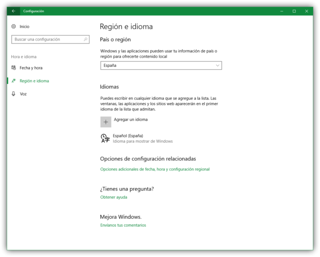 Configuración de región e idioma Windows 10