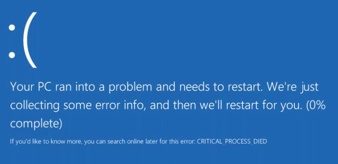 Error CRITICAL_PROCESS_DIED Windows