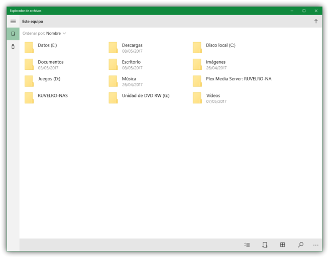 Explorador de archivos UWP de Windows 10