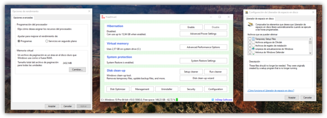 FreeDriveC y opciones de Windows