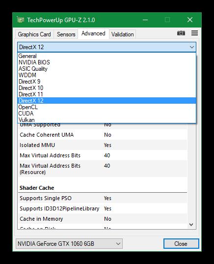 GPU-Z 2.1 - categorías información avanzada