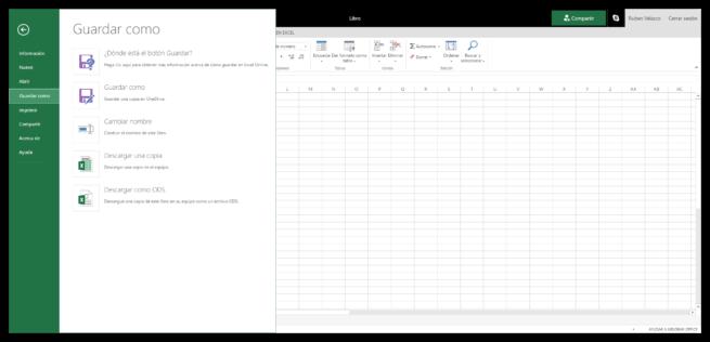 Guardar como nuevo documento Excel Online