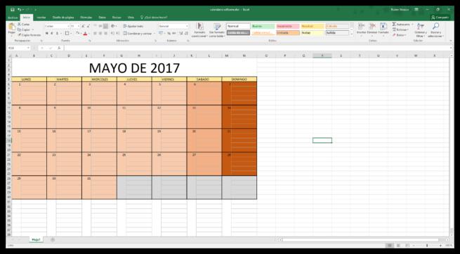 Hacer un calendario en Excel desde cero - Calendario hecho