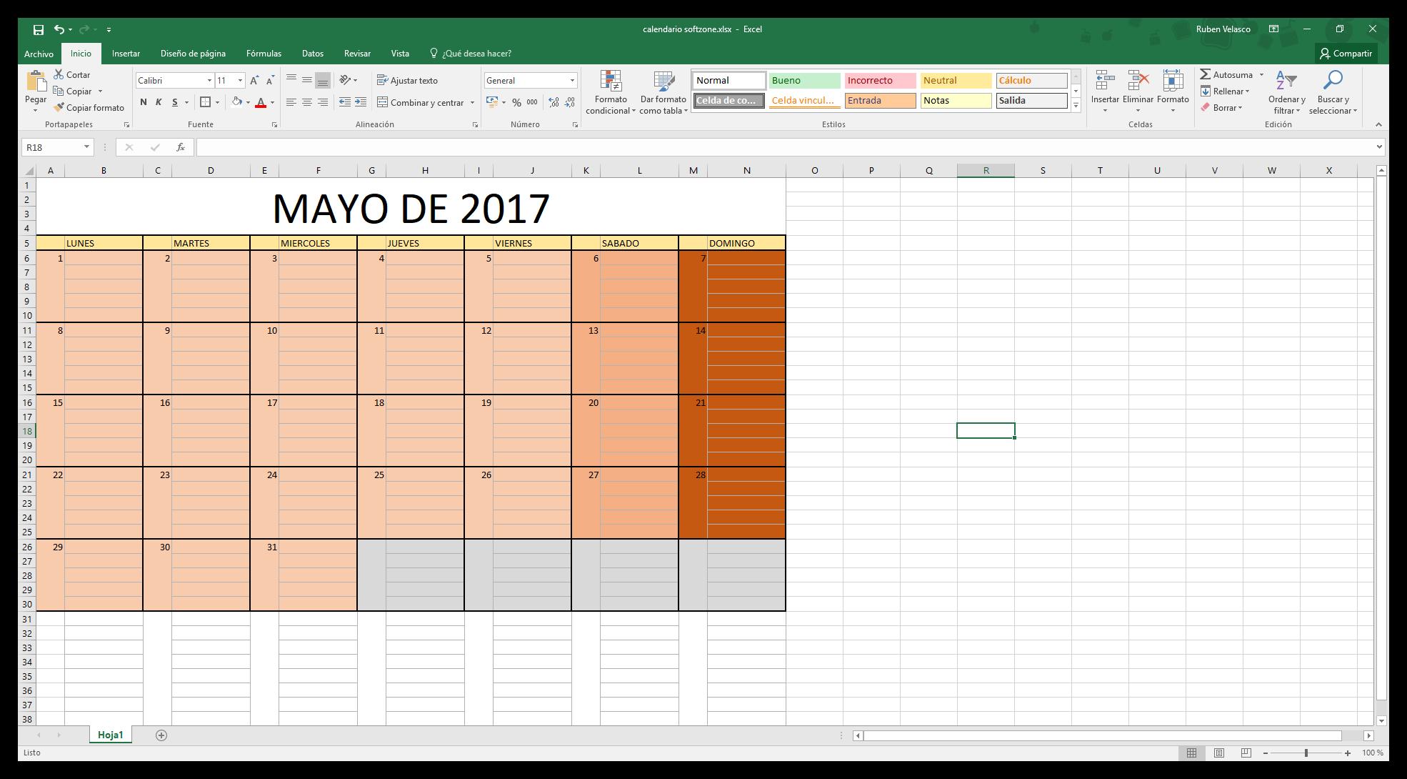 Calendario Para Escribir.Como Hacer Un Calendario 2018 En Excel