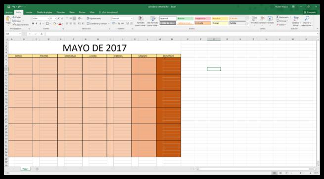 Hacer un calendario en Excel desde cero - Colorear