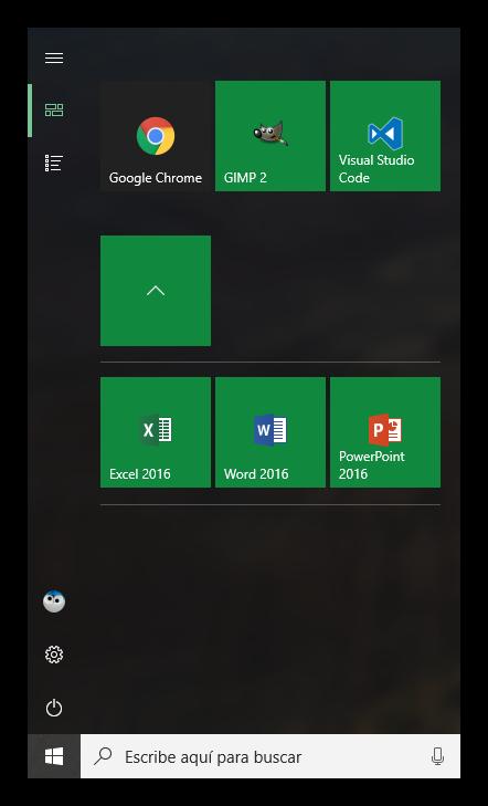 Menú inicio personalizado Windows 10