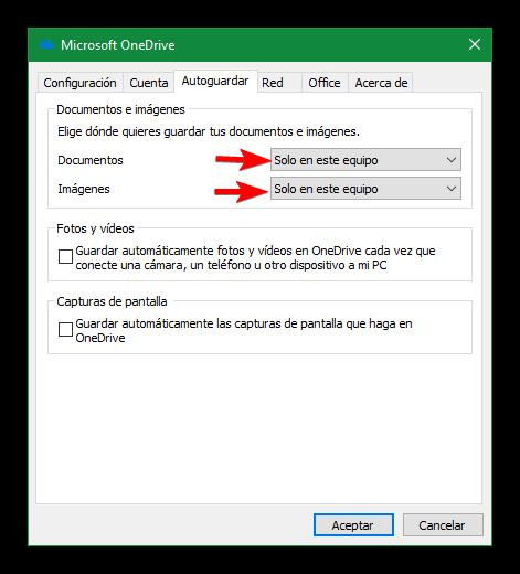 OneDrive - Deshabilitar autoguardar documentos