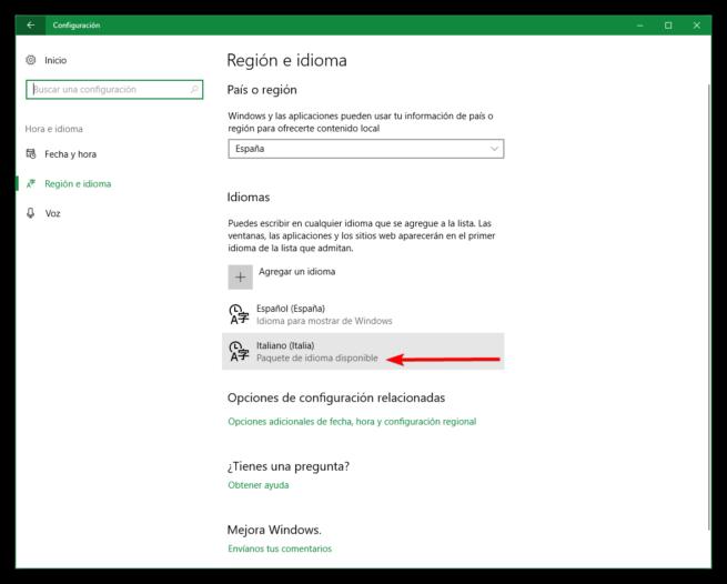 Opciones de paquete de idioma Windows 10