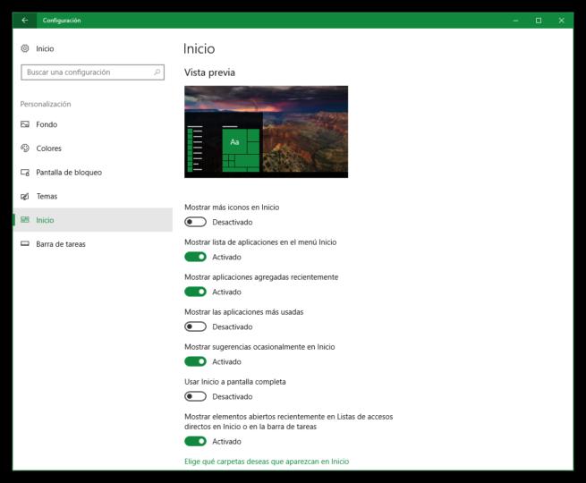 Personalizar Menú Inicio Windows 10