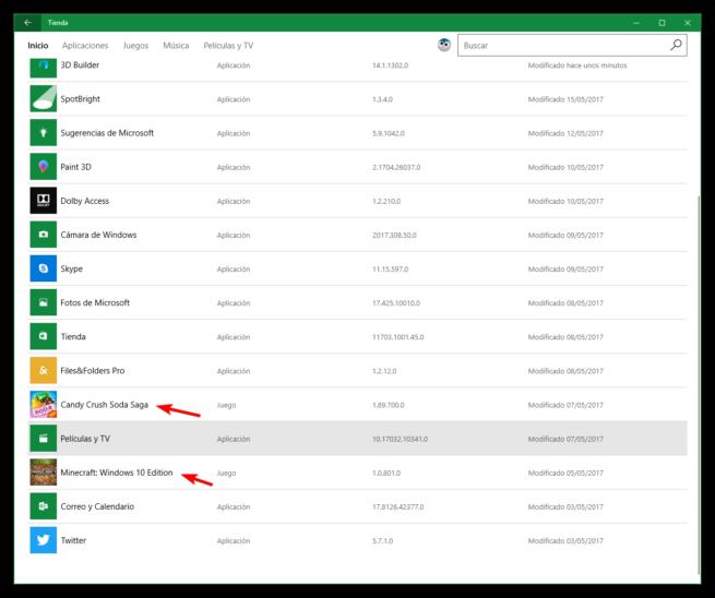 Descargas y actualizaciones de apps en Tienda de Windows 10