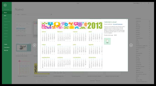 Vista previa plantilla calendario Excel