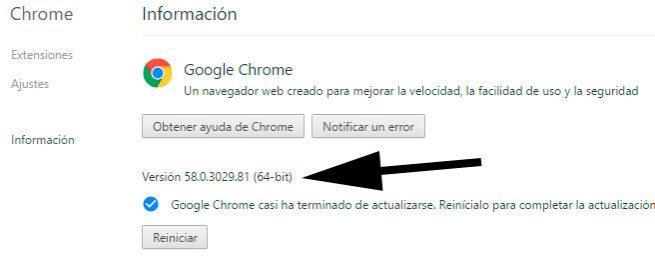 versión Google Chrome