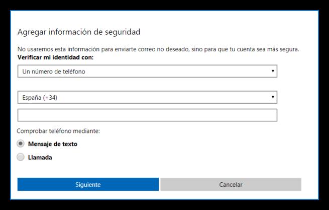 Añadir nuevo número móvil Cuenta Microsoft