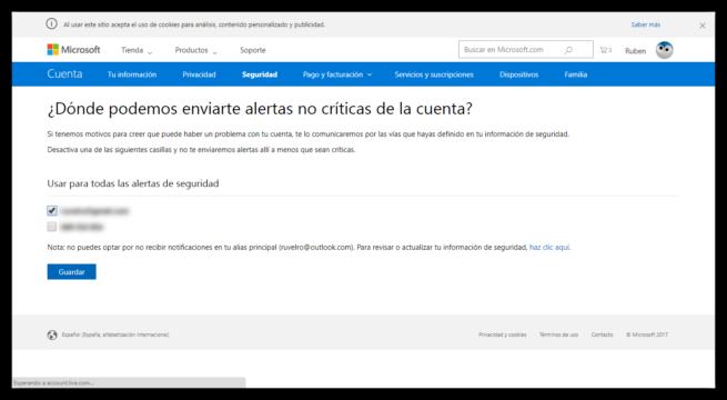 Alertas de seguridad Cuenta Microsoft