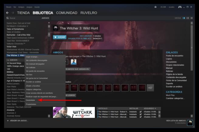 Desinstalar juego Steam