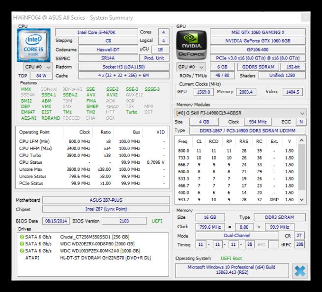 HWiNFO64 - Información CPU GPU