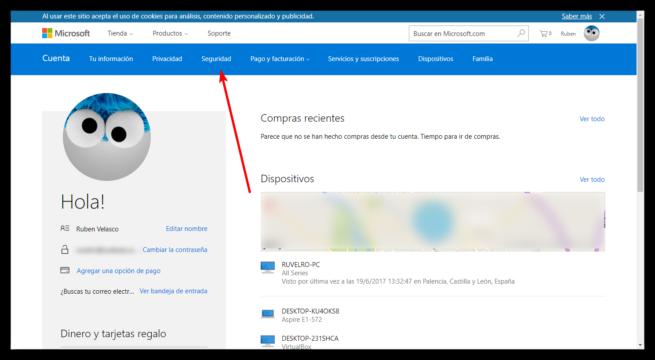 Perfil principal Cuenta Microsoft