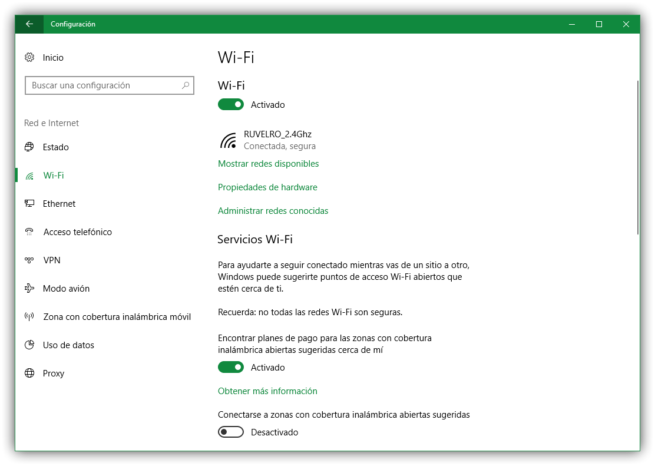 Propiedades de red Wi-Fi en Windows 10