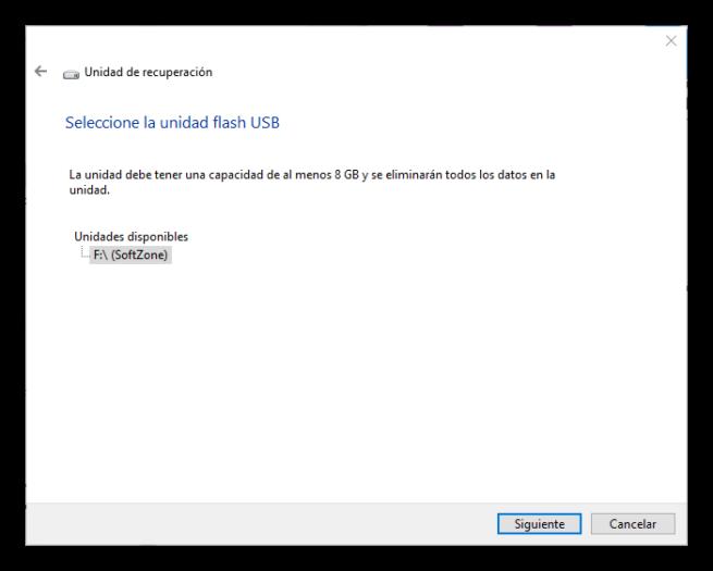 Unidad de recuperación Windows 10 S