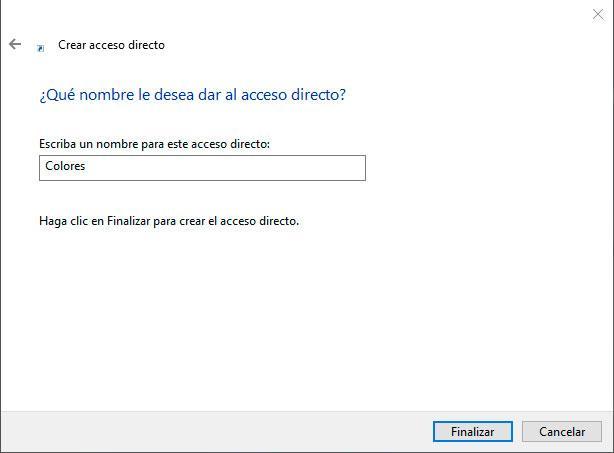 acceso directo configuración de Windows 10