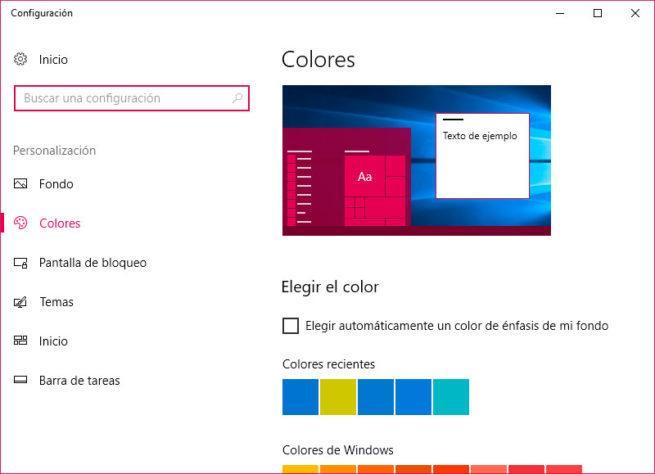 configuración de Windows 10
