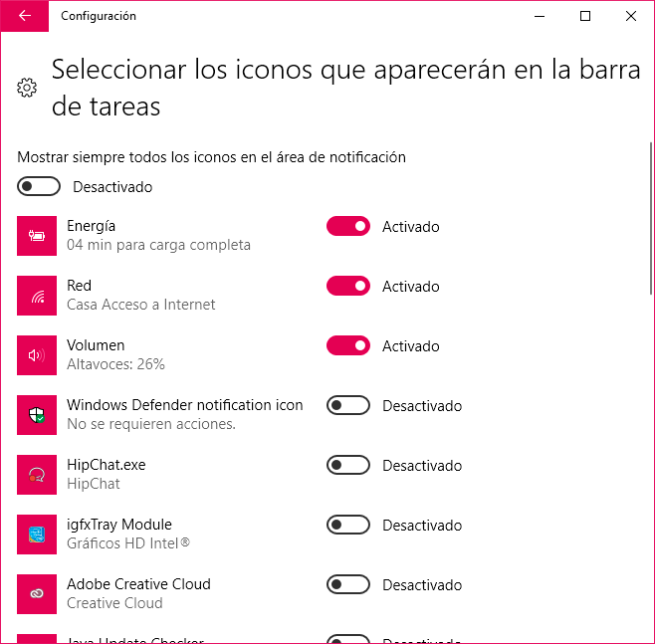iconos de la barra de tareas