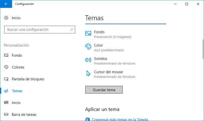 tema en Windows 10