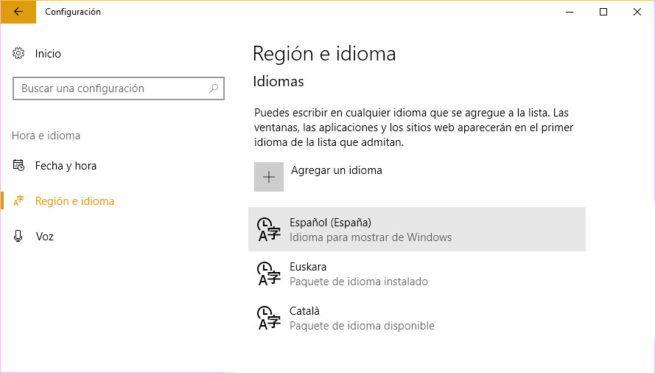 Idioma de Windows 10