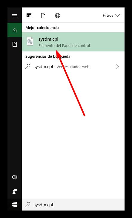 Abrir propiedades del sistema desde Cortana en Windows 10