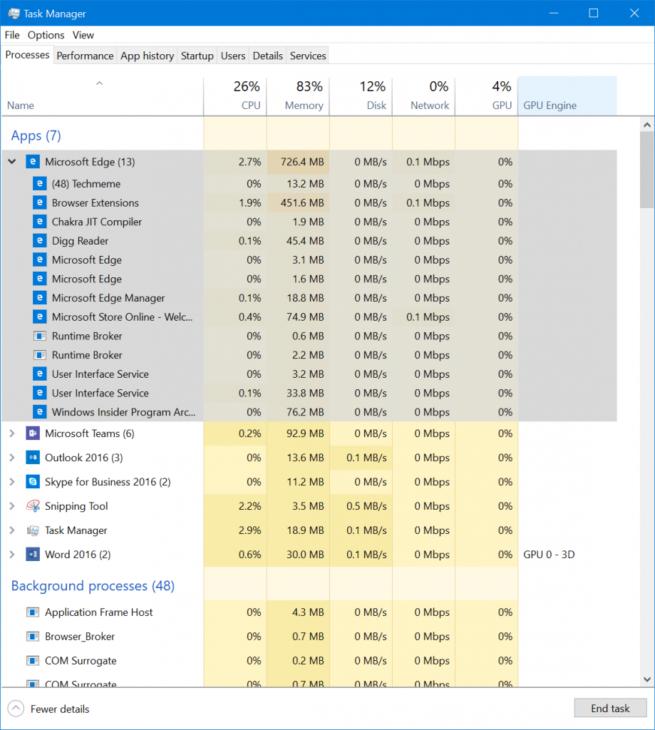 Administrador de Tareas Windows 10 Fall Creators Update