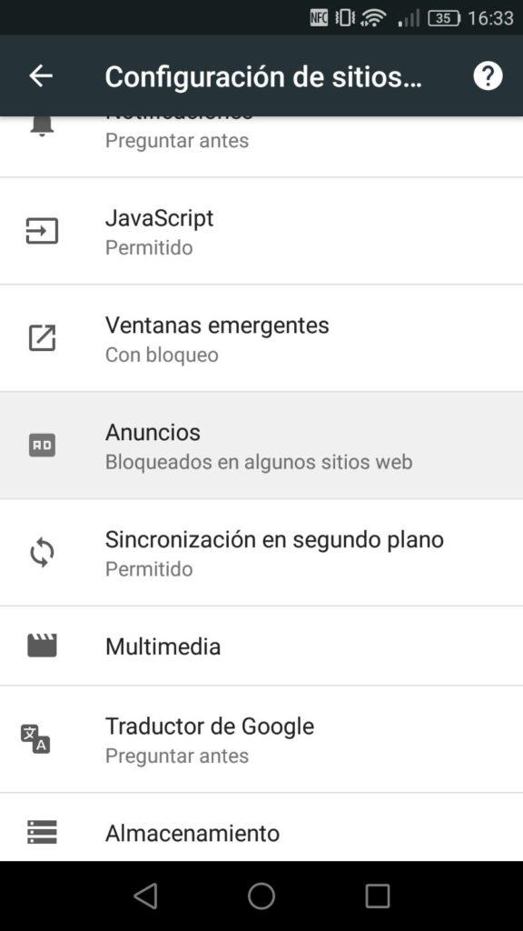 Ajustes Google Chrome Canary Android