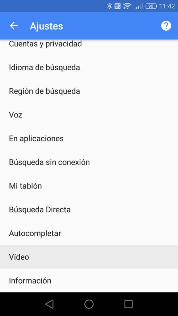 Ajustes app Google Android