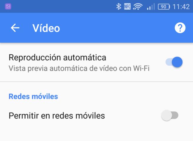 Ajustes reproducción automática videos Google Android