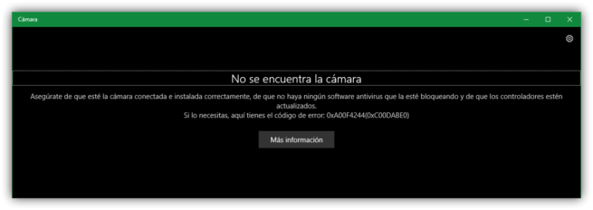 Error camara Windows 10