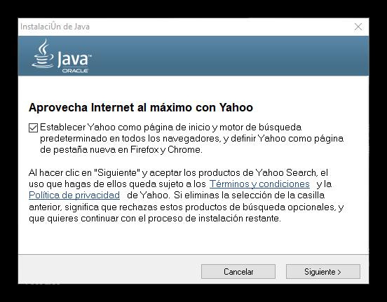 Instalación adware Java Windows