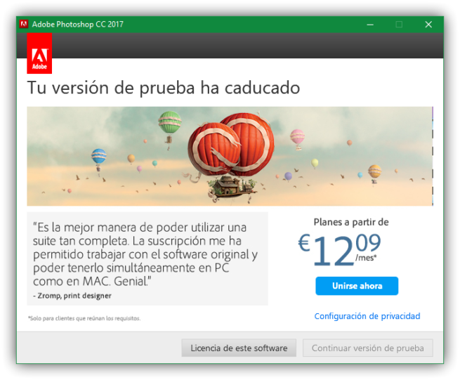 Licencia Adobe Photoshop CC 2017