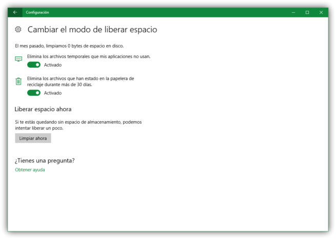 Sensor de almacenamiento Windows 10 Creators Update