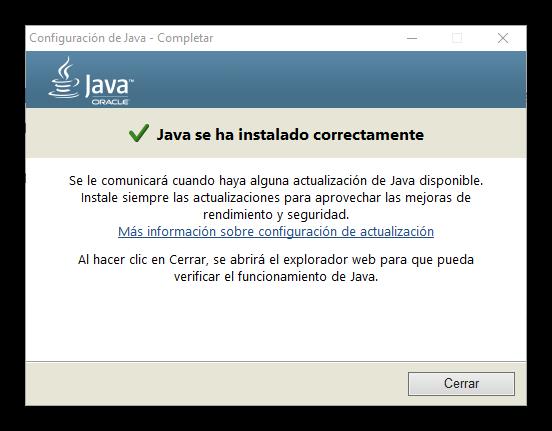 java instalado en Windows